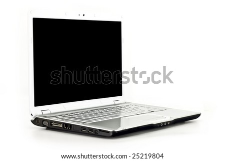 Front angled view of a laptop computer isolated on white - stock photo