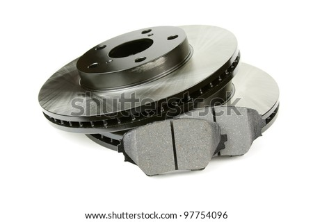 Front brake discs and two brake pads - stock photo