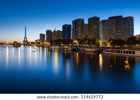 Front de Seine and Eiffel tower at blue hour, Paris - stock photo