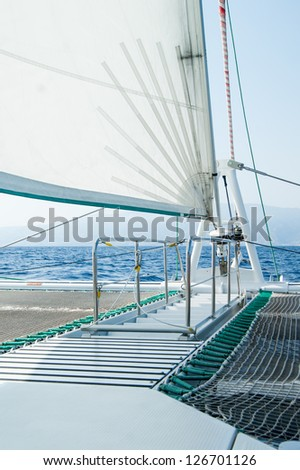 Front deck of a sailing catamaran at Madeira