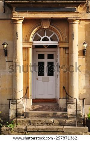 Front Door and Porch of a Beautiful Georgian Era English Town House - stock photo