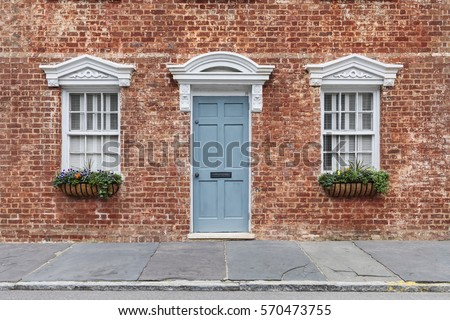 Front Door Two Windows Portico Creating Stock Photo 570473755 ...