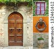 front door collage, Tuscany, Italy, Europe - stock photo