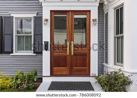Front door, double brown front door with a secured front entrance