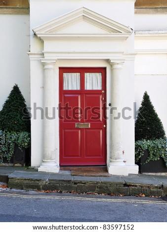 Front Door of a Beautiful Georgian Era London Town House - stock photo