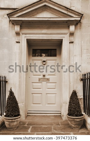 Front Door of a Beautiful Old Town House - stock photo