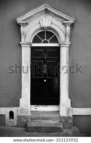 Front Door of a Georgian Era London Town House - stock photo