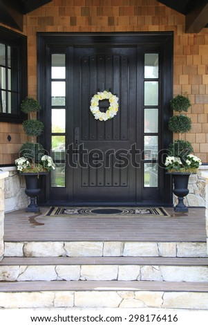 Front door of a luxurious home.  - stock photo
