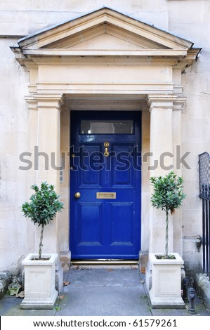 Front Door of a Luxury Georgian Town House - stock photo