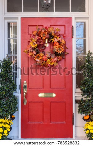 Front Door with Seasonal Decortaions