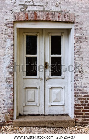 Front doors of an old brick building