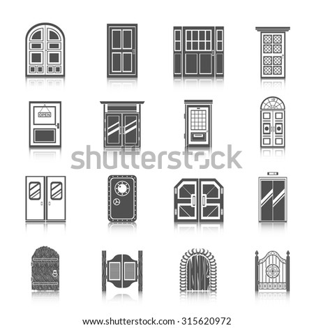 Front entrance door modern house room entrance and safe icons black set isolated  illustration - stock photo
