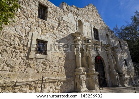 Front entrance into the chapel of The Alamo in San Antonio Texas - stock photo