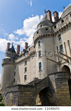 Front entrance of Chateau Langeais, Loire Valley, France. - stock photo