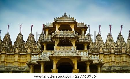 Front entrance to Ranakpur Jain temple, Rajasthan, India - stock photo