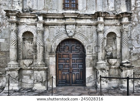 Front entrance to the famous Alamo in San Antonio. - stock photo