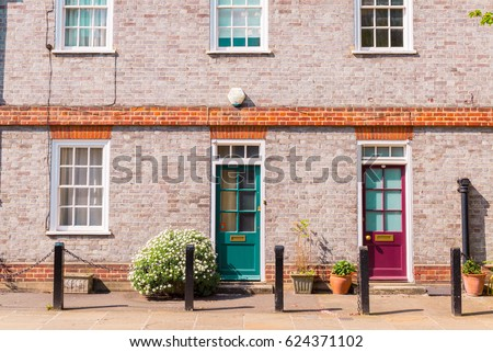 Front facade exterior of classic British restored Victorian brick house with colored doors and white wooden & Bright Pink Victorian British Front Door Stock Photo 623684792 ... pezcame.com