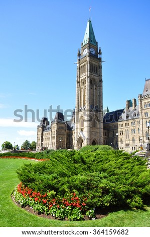 Front facade of Parliament Buildings, Ottawa, Canada - stock photo