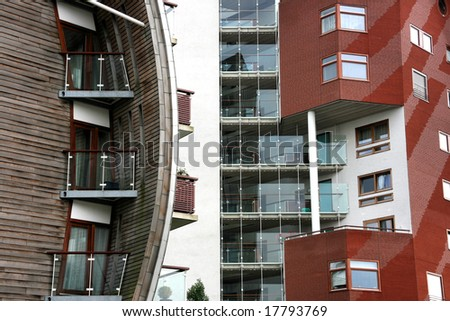 Front facade of residential condos skyscraper. Abstract modern architecture in Den Bosch, Netherlands. - stock photo