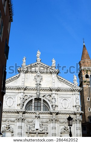 Front facade of San Moise Church near Piazza San Marco square in Venice, Italy - stock photo