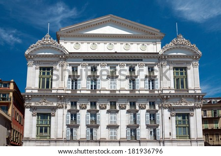 Front facade of the Opera house in city of Nice, France - stock photo