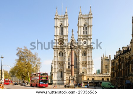Front facade of Westminster Abbey, London, England, UK on a sunny day - stock photo