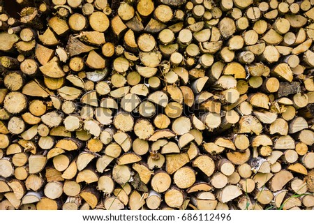 Front facing pile of firewood
