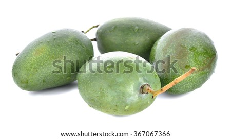 front  focus  ripe mango isolated on white background