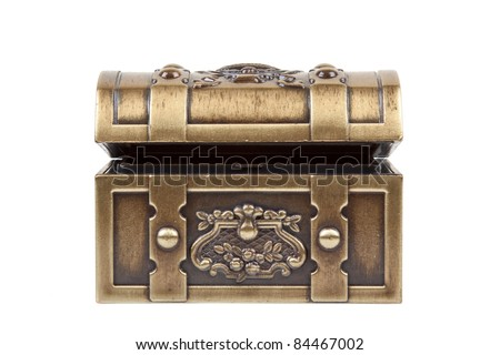 Front image of a gold chest isolated on a white background. - stock photo