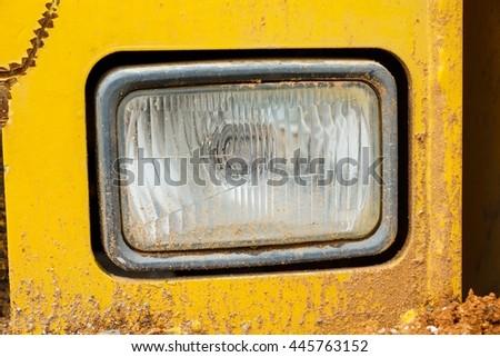 Front light bulb of Roller truck - stock photo