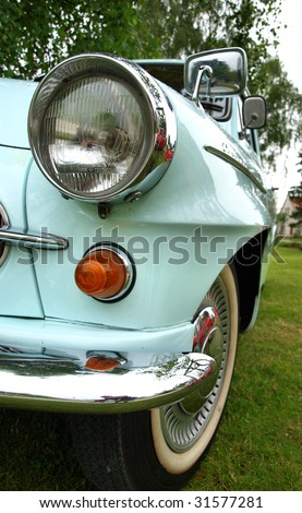 front light detail of vintage car - stock photo