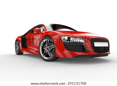 Front Of A Generic Red Sport Car Isolated On A White Background