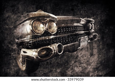 front of an old american car in retro used style - stock photo
