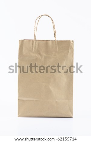 Front of Brown Crumpled paper Bag form the market - stock photo
