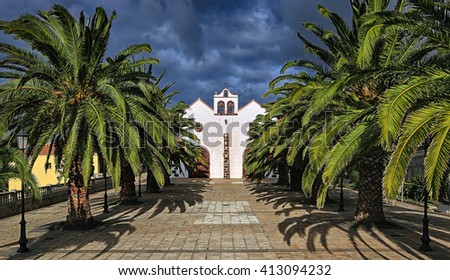 Front of Church Nuestra Senora de La Luz (Garafia, La Palma, Canary Islands) - stock photo