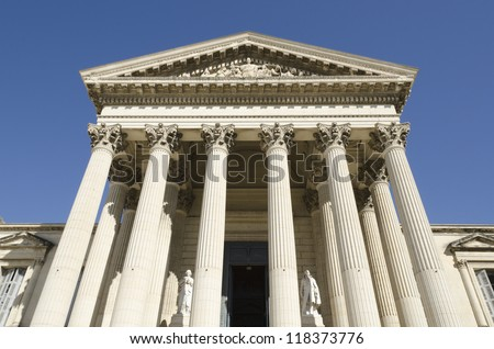 front of courthouse - stock photo