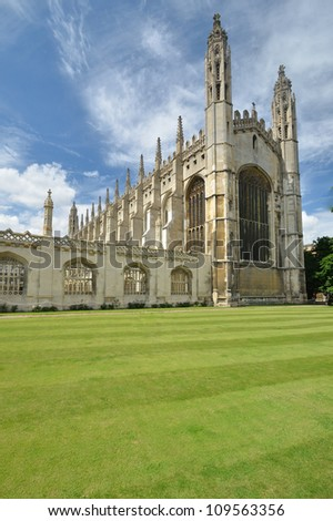 Front of kings college Cambridge - stock photo