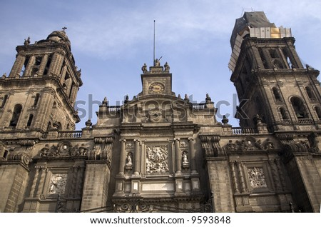 Front of Metropolitan Cathedral in the Zocalo, center of Mexico City - stock photo