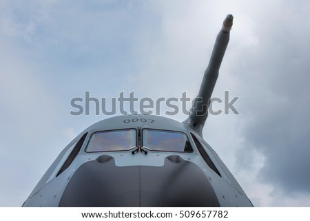 front of military aircraft
