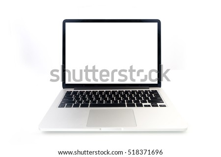 front of modern notebook with blank screen on isolated white background.
