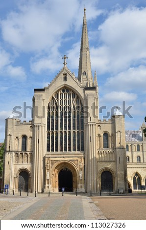 Front of Norwich Cathedral - stock photo