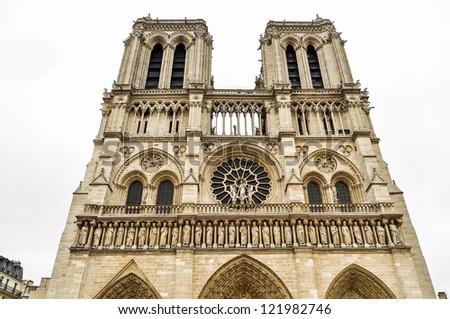 Front of Notre dame. Paris city. France. - stock photo