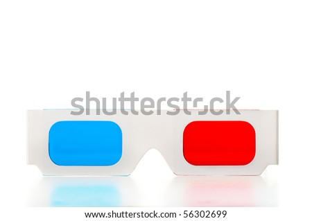 Front of of 3D glasses - stock photo