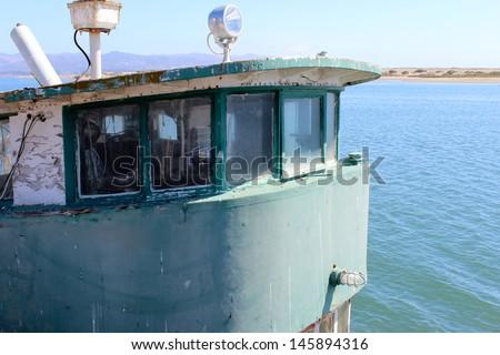Front of Old Boat in Morro Bay Harbor, California - stock photo