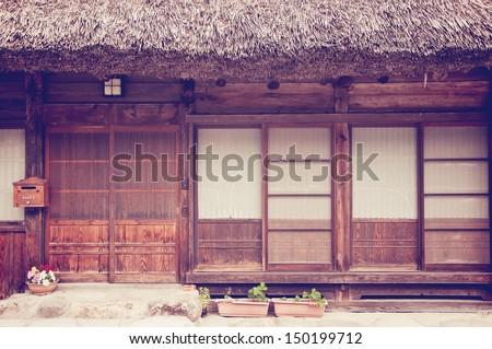 front of old japanese house - stock photo