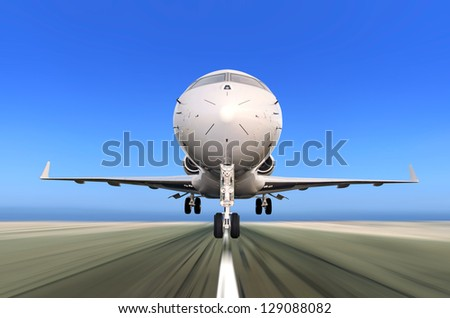 Front of Private Jet Plane Taking off with Motion - Radial  Blur. Blue skies and runway in the background - stock photo