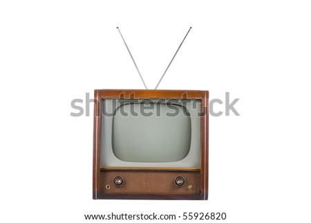 Front of 1960's old television on a white background - stock photo