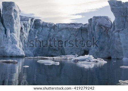 front of samarinbreen glacier in Svalbard, Arctic - stock photo