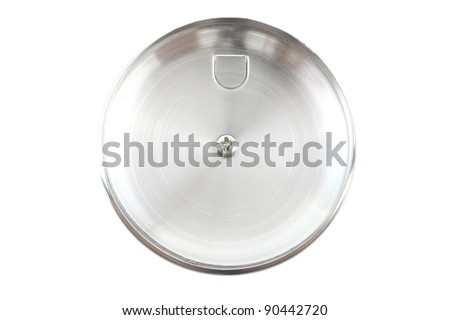 Front of stainless pot cover. - stock photo