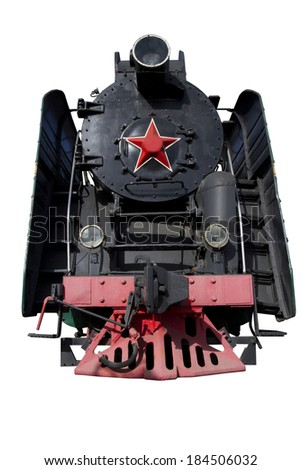 front of the old locomotive for design - stock photo